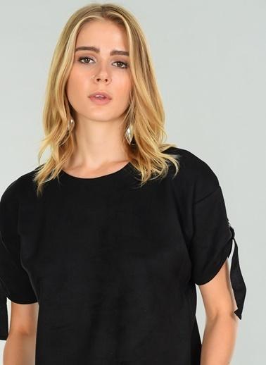 People By Fabrika Tokalı Süet Bluz Siyah